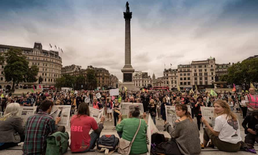 Protesters gather in Trafalgar Square for day one of the 'impossible rebellion'