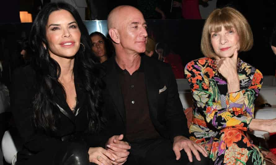 Amazon CEO Jeff Bezos and Anna Wintour at the Tom Ford show in February, 2020.