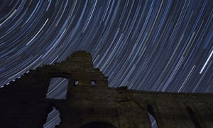 Star trail over Jervaux Abbey in the North York Moors