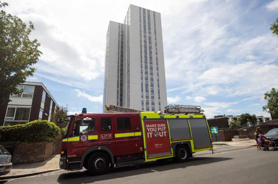A fire engine outside Chalcots estate in Swiss Cottage