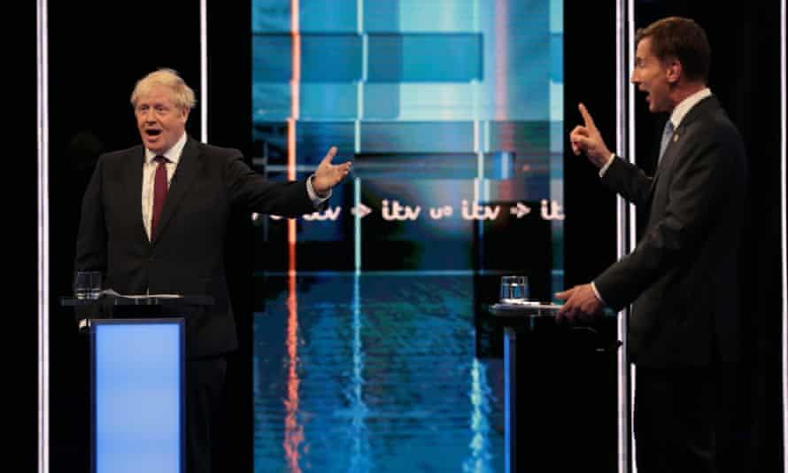 Boris Johnson and Jeremy Hunt during the ITV debate