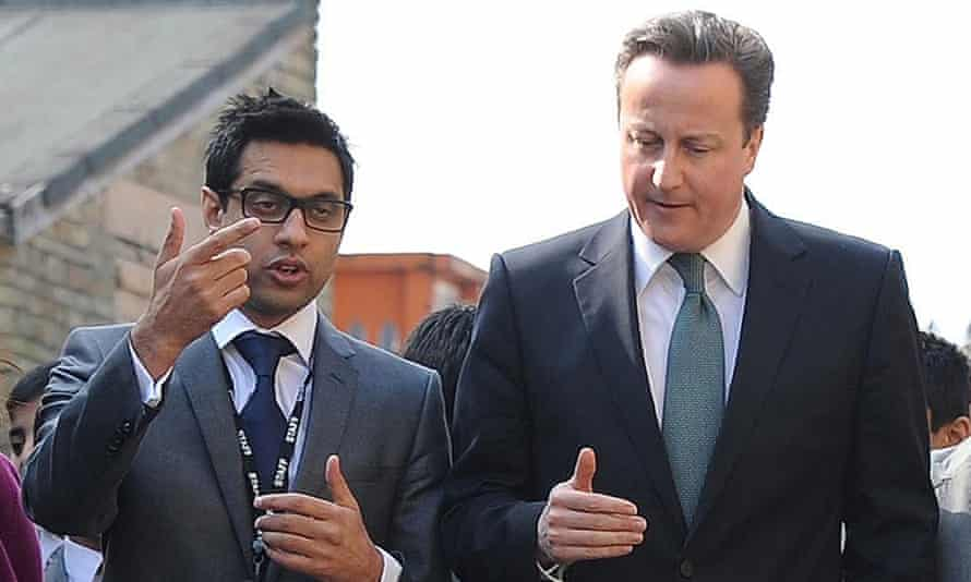 Sajid Hussain Raza, founder of Kings Science academy in Bradford, with David Cameron in 2012