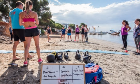 A fitness session on the beach