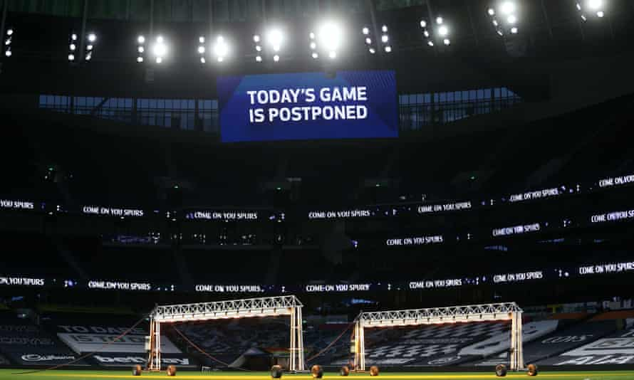 A board inside Tottenham's stadium after the game was postponed.