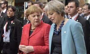 Merkel and May in Valletta at the EU summit.