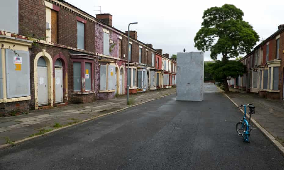 Memorial to an abandoned community … Lara Favaretto's Momentary Monument: The Stone (2016) in Rhiwlas Street, Toxteth, Liverpool.