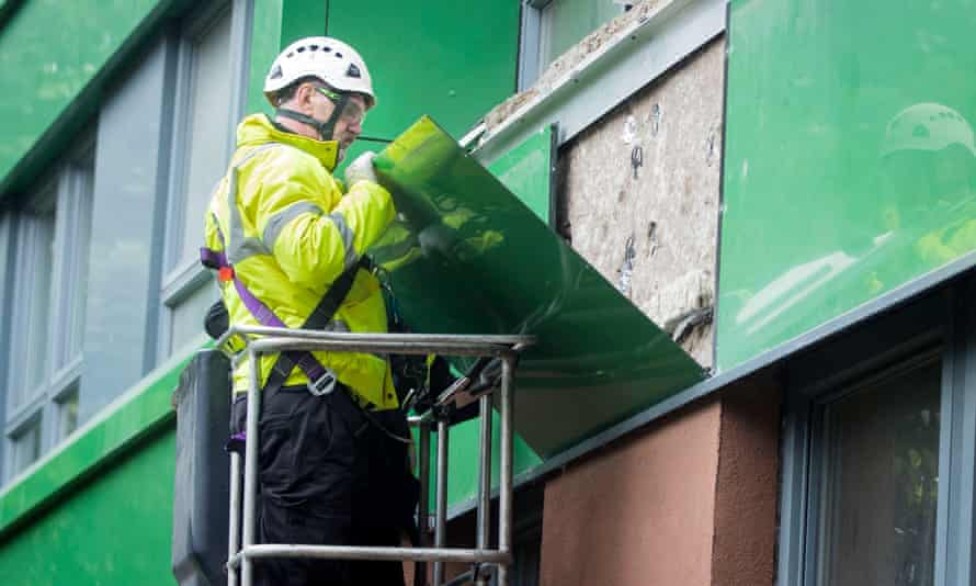 Cladding being removed from Hanover tower block in Sheffield, Yorkshire.