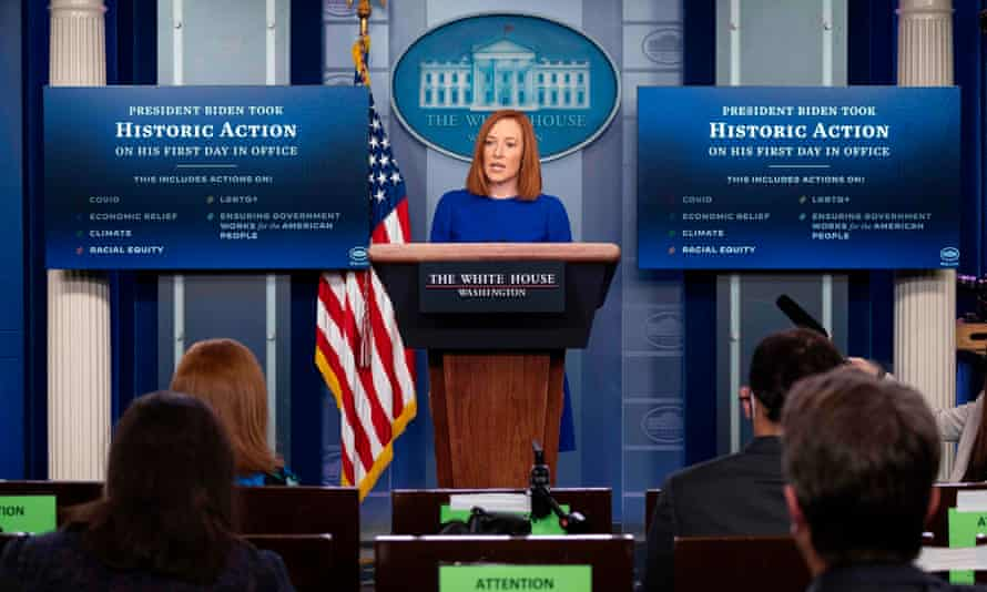 Jen Psaki holds her first press briefing at the White House.