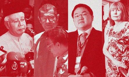 Malaysian prime minister Najib Razak, whistleblower Javier Justo, Jho Low and Clare Rewcastle Brown
