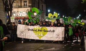 Supporters of Grenfell victims attend a monthly silent march in North Kensington.