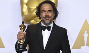 Alejandro G Inarritu with his best director Oscar for The Revenant in 2016.