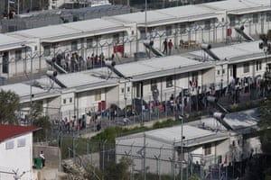 The Moria camp on Lesbos. More than 3,000 people are being held in the camp as the plan to send people back to Turkey gets under way