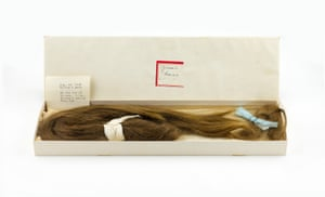Sylvia Plath's Childhood Ponytail with her,Mother's Inscription August 1945, showing her naturally dark hair