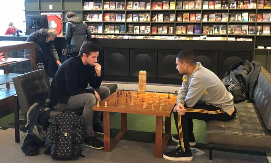 Two men playing chess in the Forum in Groningen city centre