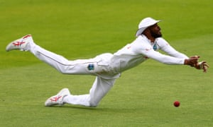 West Indies' Roston Chase fails to catch out England's Ollie Pope.