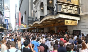 Huge crowds line up for the Lottery to win $10 front-row seats to see the Broadway musical Hamilton.