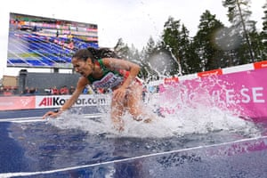Gavle, SwedenLaura Taborda of Portugal stumbles in the 3000m Steeplechase during day one of the European Athletics U23 Championships 2019 at the Gavlestadion.