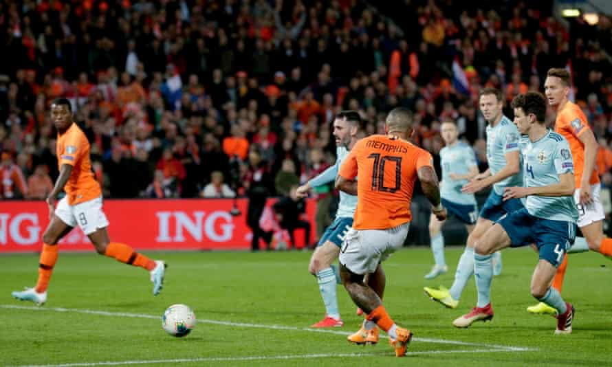 Depay scores against Northern Ireland in Rotterdam in qualifying when his prolific form helped the Netherlands reach a major finals again.