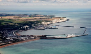 An aerial view of the port of Dover, with Goodwin Sands at the horizon.