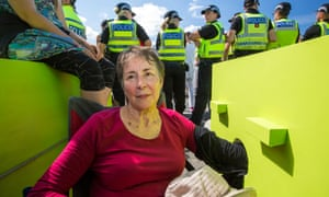Gillian Kelly protesting in Fylde.