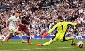 Michail Antonio of West Ham United scores their  second goal past Illan Meslier of Leeds United.