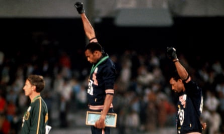 Tommie Smith and John Carlos give the Black Power salute at the Mexico City Olympics in 1968