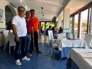 Chef Giuseppe Verrone, left, and two of Carmine Verrone's other sons, Mario, centre, and Armando, right, at Da Carmine restaurant, Ogliastro Marina, Italy