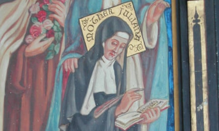 A painting of Julian of Norwich on a early 20th century triptych, in All Saints church in East Tuddenham, Norwich.