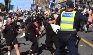 Police use pepper spray to break up an anti-lockdown rally in Melbourne on Saturday