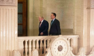 Boris Johnson with Leo Varadkar, the Irish taoiseach, in Stormont earlier this afternoon.