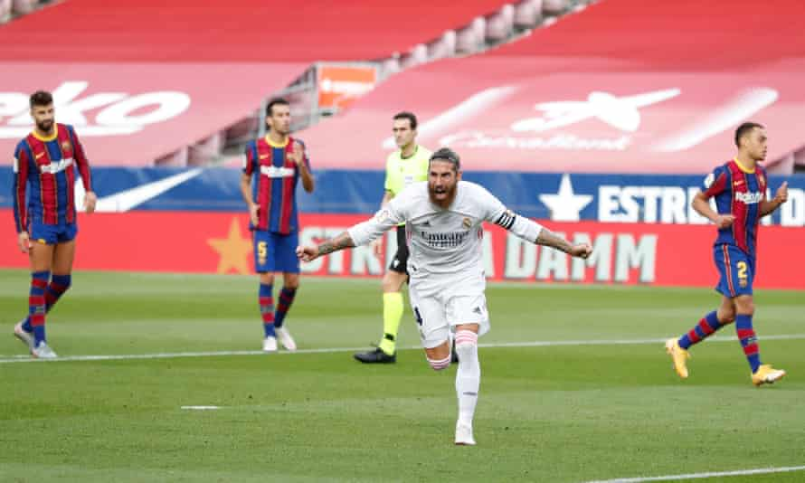 Sergio Ramos celebrates after converting a penalty he won in the second half at Camp Nou.