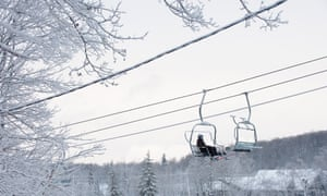 Skiers on a chairlift at Camp Fortune, Gatineau, Ottawa