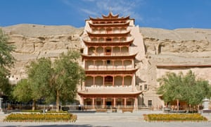 Cave 96 (aka Nine Storey Building) probably the most well known of the Mogao Grottoes was built in the Tang dynasty.