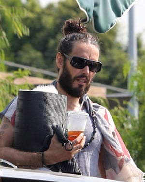 Russell Brand arriving for his Hollywood yoga class.