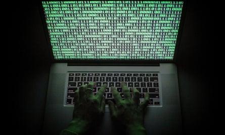 Binary code on a laptop screen.