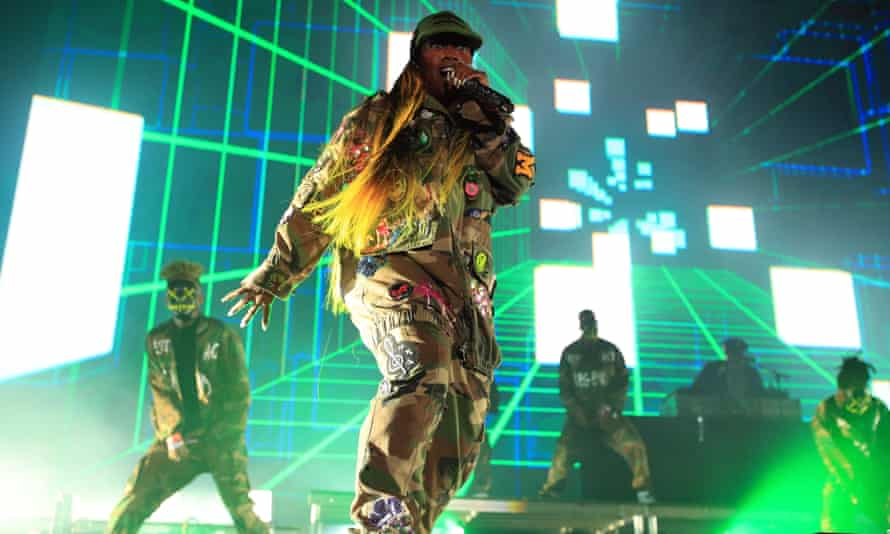 Missy Elliott performs onstage during day one of FYF Fest 2017