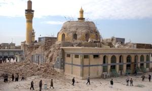 A damaged Shia shrine following an explosion in Samarra, 60 miles north of Baghdad.