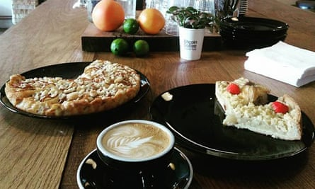 Coffee and a selection of cakes on the counter at Bitcoin Coffee in Prague, Czech Republic. The cafe only accepts the cryptocurrency Bitcoin.
