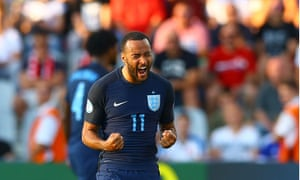 Nathan Redmond celebrates at the final whistle.