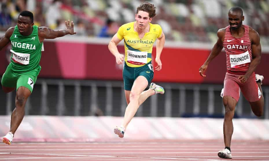 Rohan Browning crosses the line at the end of his 100m semi-final.