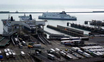 Ferries arriving at the port of Dover in Dover