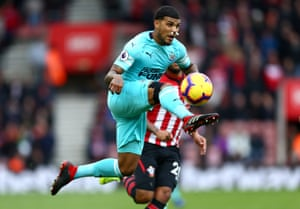 October 27: Deandre Yedlin of Newcastle United controls the ball in the air against Southampton at St Mary's Stadium.