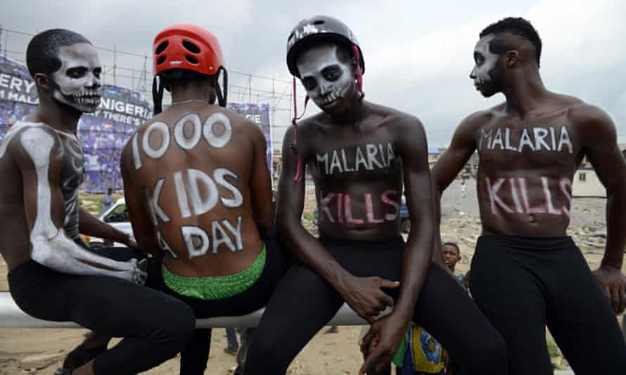 Actors warn of the dangers of malaria in a campaign organised by the group behind Moskeeto Armor, a mosquito repellent fabric, in Lagos, April 2015