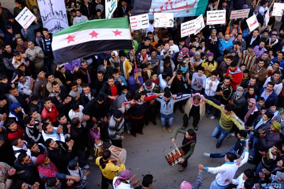 Friday demonstrations in the town of Benish in the Northern syrian province of Edlib