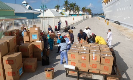 Relief aid being offloaded from a cruise ship in the Bahamas in the wake of Hurrican Dorian.