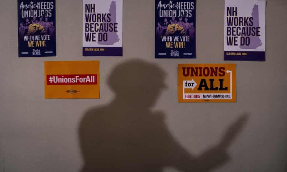 Elizabeth Warren speaks to members of the SEA/SEIU Local 1984 union in Concord, New Hampshire.