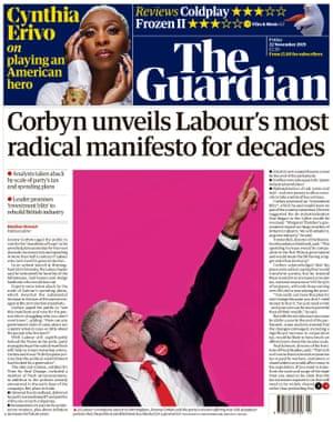 Guardian front page, Friday 22 November 2019