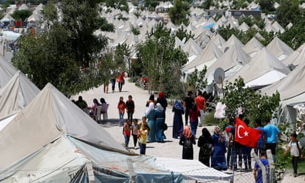 Refugees at a camp in Turkey
