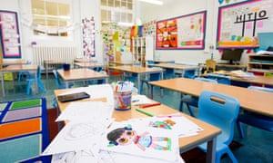 Daubeney Primary School In Homerton looking eerie with empty classrooms because of the UK lockdown.