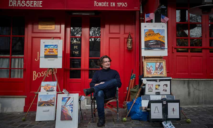 Artist Jerome Feugueur waiting for customers at Place du Tertre in Montmartre.